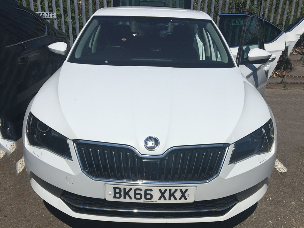 Skoda Saloon (White) - COVID-19 Safety Measure at Cannons Chauffeur Services