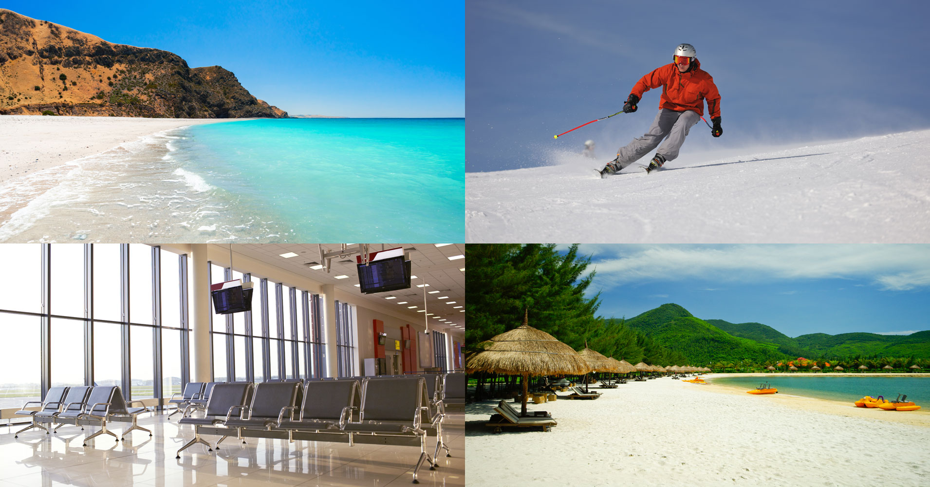 Image of summer and ski holidays, airport hall and cruise ship - Port transfer by Cannons Chauffeur Services