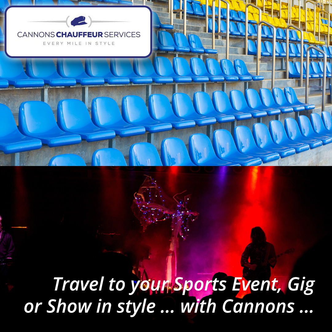 Image of football stand and music gig - Leisure travel by Cannons Chauffeur Services